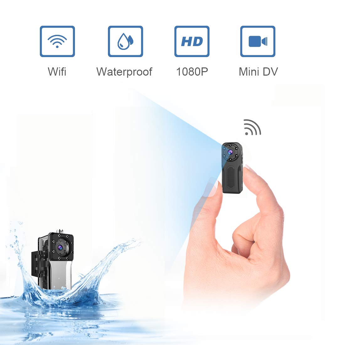 Waterproof Surveillance Camera Wireless Hidden ZZCP WiFi Full HD 1080P Portable Mini Nanny Cam with Night Vision and Motion Detection